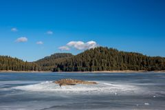 Winter landscape. Frozen lake, pine forest. Bulgaria, Rhodopes mountains, Shiroka Polyana lake. Rocky island in front. Winter landscape. Frozen lake waters stock photography