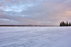 Winter Landscape with Frozen Lake Stock Photography