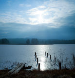 Winter Landscape with Frozen Lake Royalty Free Stock Images