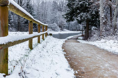 Winter landscape- frozen Ludwig Canal Stock Photos
