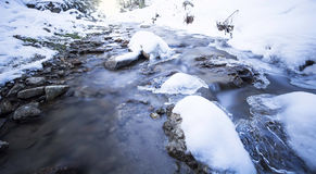 Winter landscape with frozen mountain creek Stock Images