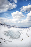 Winter landscape of frozen mountaind pond, Czarny staw gÄ…sienicowy, Tatry mountains. Beautiful sunny day. Vertical. Poland stock image