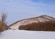 Winter landscape with the frozen river Stock Photo