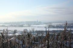 Winter landscape. Winter landscape in the frozen river floodplain in the suburbs Stock Photos