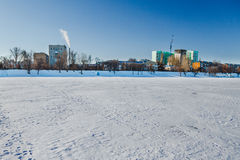 Winter landscape on a frozen river Stock Image