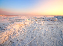 Winter landscape with frozen sea Royalty Free Stock Photos