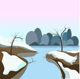 Winter landscape with frozen water and snow on ground Royalty Free Stock Images