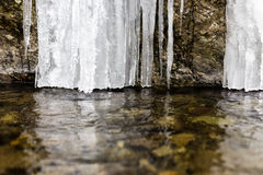 Winter landscape with frozen waterfall Stock Image