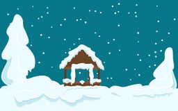 Gazebo Covered with Snow Winter Scene Illustration. Winter landscape with gazebo and fir trees covered with snow on dark sky background. Picture for winter Royalty Free Stock Photography