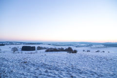 Winter landscape in Germany in the morning at the blue hour Royalty Free Stock Images