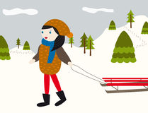 Winter landscape with girl and sled. Winter landscape illustration. Snow, mountains and a girl with sled Royalty Free Stock Images