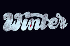 Winter landscape with hand lettering Royalty Free Stock Image