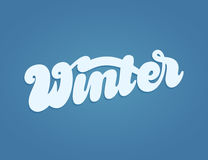 Winter landscape with hand lettering Stock Image