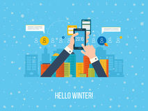 Winter landscape. Happy new year. business analysis and planning Stock Image