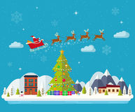 Winter landscape Happy New Year and Merry Christmas. Snowbound town, Santa Claus in a sleigh with gifts decorated Christmas tree. Blue background with clouds Royalty Free Stock Photography
