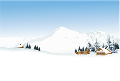 Winter landscape with high mountains Stock Photos