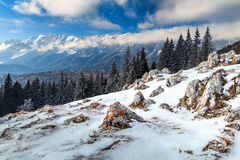 Winter landscape and high snowy mountains,Carpathians,Romania,Europe Royalty Free Stock Image
