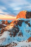 Winter landscape of high snowy mountains. Sunset, sunrise in Alpes - european skiing resort Stock Images