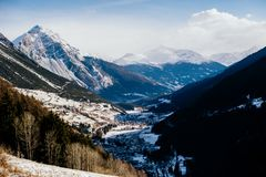 Landscape of the high Valtellina, between the Italian central Al. Winter landscape of the high Valtellina, between the Italian central Alps, village of Royalty Free Stock Images
