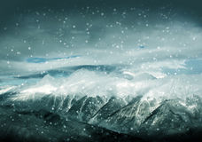 Winter landscape, hight mountains and snowstorm Royalty Free Stock Photo
