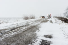 Winter landscape with highway and snow-drift Royalty Free Stock Photos