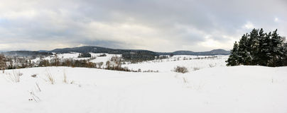 Winter landscape in the hills Royalty Free Stock Image
