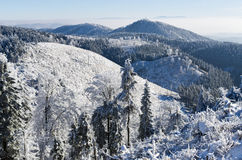 Winter landscape in the hills Royalty Free Stock Images