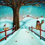 Winter landscape. Winter holiday greeting card or illustration or poster with the village winter snow  landscape. Computer graphics Royalty Free Stock Photo