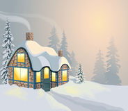 Winter landscape 2. Winter holidays landscape. Christmas vector Illustration with house and forest Stock Photography
