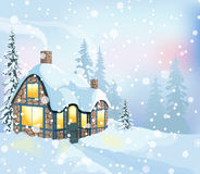 Winter landscape 3. Winter holidays landscape. Christmas vector Illustration with house and snowy forest Royalty Free Stock Photo