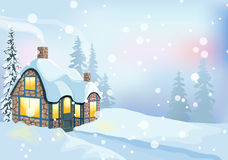 Winter landscape 1. Winter holidays landscape. Christmas vector Illustration with house and snowy forest Stock Image