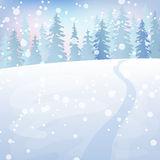 Winter landscape 4. Winter holidays landscape. Christmas vector Illustration with snowy forest Stock Photos