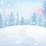 Winter landscape 5. Winter holidays landscape. Christmas vector Illustration with snowy forest Royalty Free Stock Photo