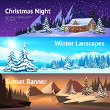 Winter Landscape Horisontal Banners Royalty Free Stock Photos