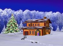 Winter landscape with the house Stock Photo