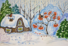 Winter landscape with house and ash tree, painting royalty free stock image