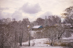 Winter landscape with a house in a background Stock Photo