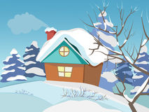 Winter landscape. The house with a chimney. The smoke from the chimney. Freezing day. New Year`s and Christmas. Christmas Eve. All homes are vsbore. Green fir Stock Photo