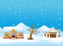 Winter landscape with house and dry tree at the mountains Stock Images