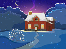 Winter landscape. With the house. Evening landscape. The stars and the moon in the sky. Cold weather. Bright background Stock Photography