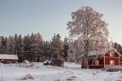 Beautiful Winter Landscape in Lapland,Finland. Winter landscape, house in the forest.Lapland,Finland Royalty Free Stock Image