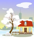 Winter landscape of a house in the snow, benches and a tree. Long-range view with a silhouette of skyscrapers. Illustration in the vector illustration