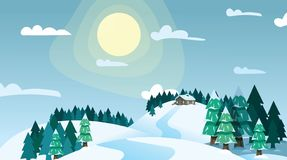 Winter landscape house on snowy highlands in coniferous forest on blue sky and bright sun background. Winter forest. House on snowy hills at sunny day. Merry vector illustration