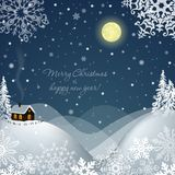 Winter landscape with a house. Vector illustration Stock Photography