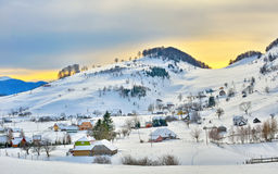 Winter landscape with houses Royalty Free Stock Photography