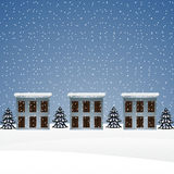 Winter landscape with houses Royalty Free Stock Images