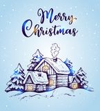 Winter landscape with houses and fir trees. In the snow on a blue background. Hand drawn Christmas greeting card. Merry Christmas lettering Royalty Free Stock Photo