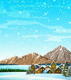Winter landscape with houses and mountains Royalty Free Stock Photo