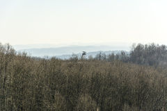 Winter landscape with a hunting lookout point Stock Photography