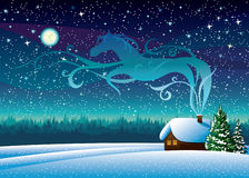 Winter landscape with hut and magic horse silhouette. Stock Photography